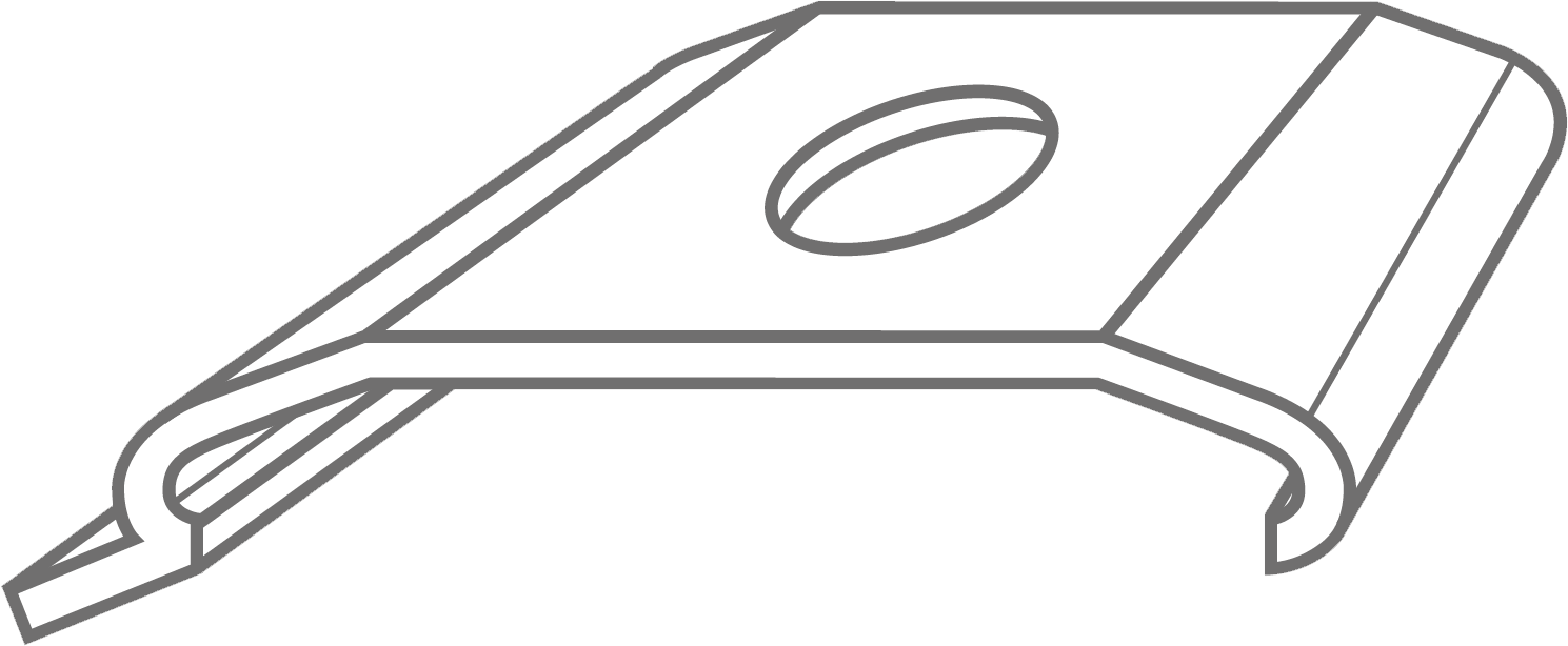 The outline of a vertical blind bracket