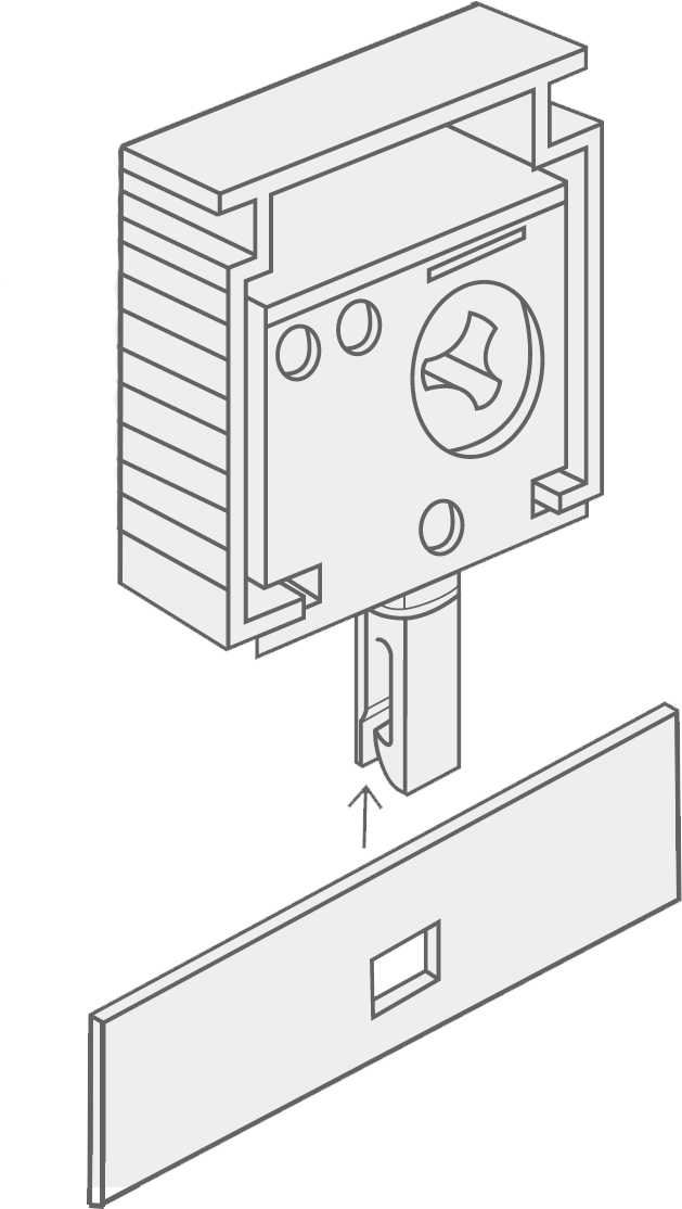 A diagram showing how to clip the vertical vanes onto the headrail