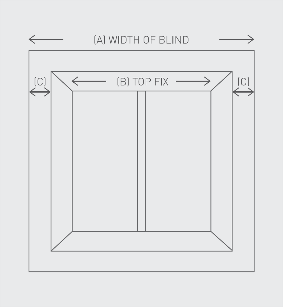 A outline of a window, showing where to locate your brackets when installin