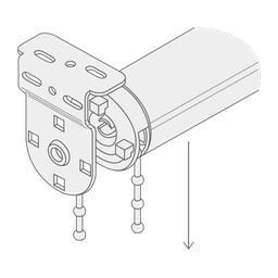 A diagram showing how to clip the chain end of the blind into the bracket