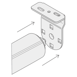 A diagram showing how to clip one side of the blind into the bracket