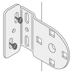 A diagram showing where to screw through the brackets